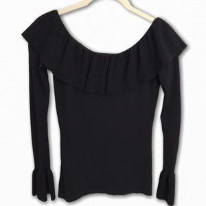 Ann Taylor Black Ruffle Sweater, XS